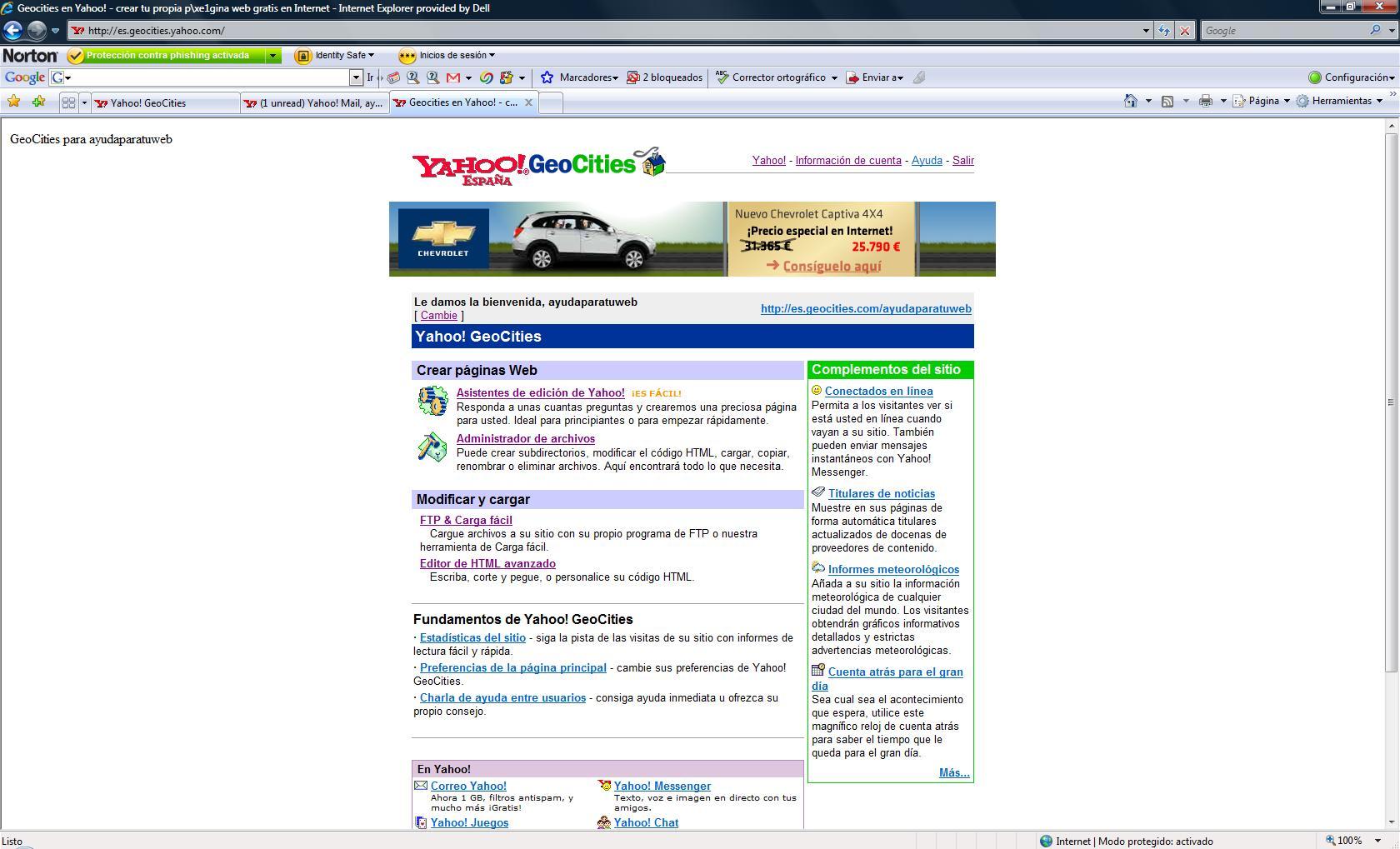d3fc560b7fbcc Tu primera página web en Yahoo! Geocities - Ayuda en la Web