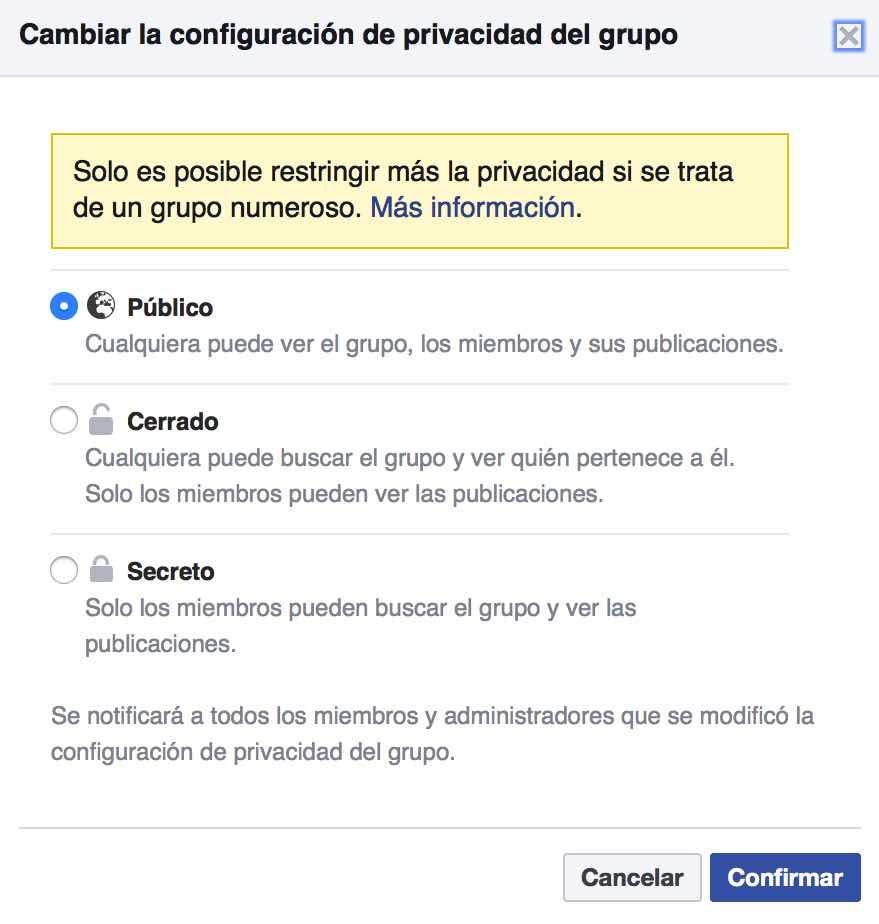 Tipos de Privacidad de un Grupo en Facebook