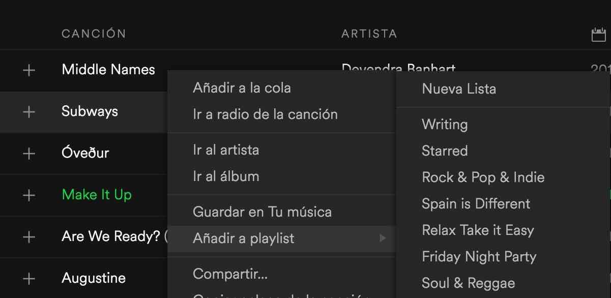 Añadir canciones a una PlayList de Spotify